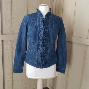 Dressbarn new with tag Jean zip up ruffle Jacket